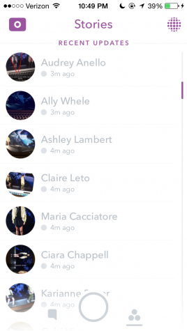 Senior, Grace Neal, shares a screenshot from her Snapchat, showing just a fraction of people's stories, featuring Opp walking, that seemed to take over her entire feed. Photo Credit: Grace Neal (used with permission)