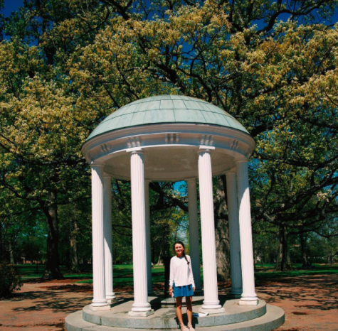 Senior, Victoria Baldor, snaps a picture while on a college tour at University of North Carolina at Chapel Hill, as seen on her Instagram.