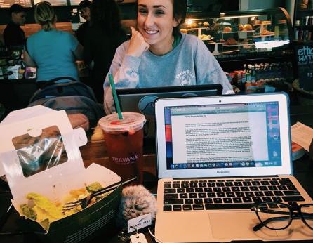 Starbucks study session with friend, Olivia Porcaro.