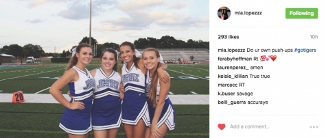 Junior, Mia Lopez, posts a pre-game picture, completed with a savage caption directed towards Blue Tide and their harassment of the cheerleader's push-ups. Photo Credit: Mia Lopez (used with permission)