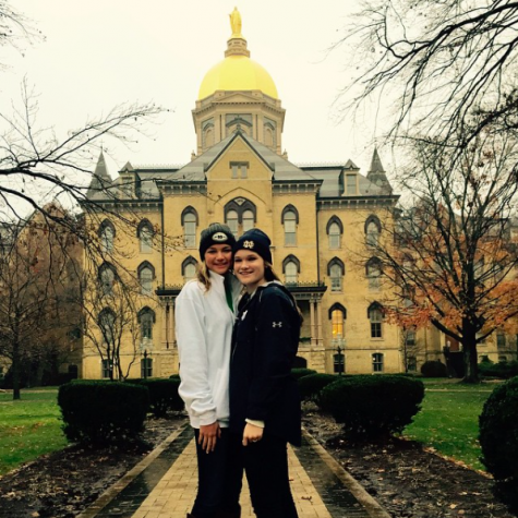"Academy seniors, Camille Opp and Kendall Bulleit, visit Notre Dame University. Bulleit claims that she ""looks forward to talking to the Notre Dame representative when she comes to Tampa to visit AHN."""