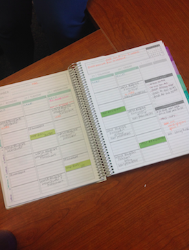 (Credit: Jessica Zakhary/Achona Online) Adams has two different planners- one for personal life and one for her school life.