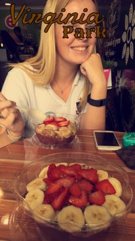 Haley snapchats a picture of friend, Kate, while they enjoy their acai bowls.
