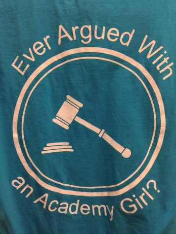 Then freshman Juliana Ferrie designed the Speech and Debate t-shirt. The saying is inspired by her mother's slogan, which she uses for her law firm.
