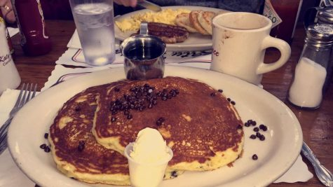 The chocolate chip pancakes are one of the most popular breakfast items at Pinky's. Photo Credits: Kali Bradley (used with permission)