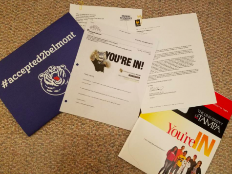 """Photo Credit: Jenna Wiley """"When I opened my acceptance letter from Belmont I started crying because I was so happy to get accepted to my top school.""""- Jenna Wiley"""
