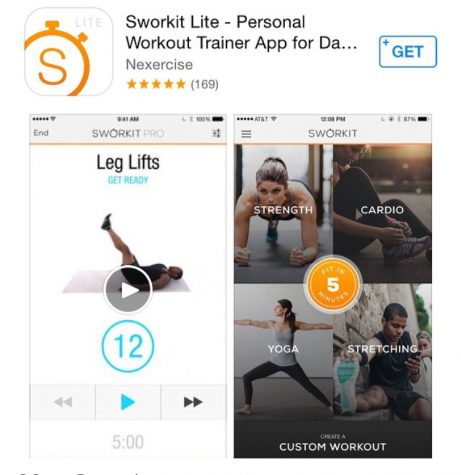 "There are apps such as Sworkit to help people either workout at a gym, in the comfort of their home, or even on the go. The free app guides you through workouts if any sort from abs to glutes. Morgan Graff comments ""Working out is actually so much fun I think people just have to find their niche."" Photo credit: Maria Cacciatore/ Achona Online"
