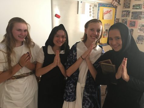 Students dressed up in various different costumes to better represent what their Saint's original nationality was.