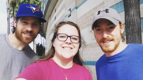 Wiley has met a few of her favorite hockey players including Brayden Coburn, Luke Witkowski, Adam Wilcox, Jonathan Marchessault, Mike Blunden (pictured on the left) and Matt Taormina (pictured on the right). Photo credit: Jenna Wiley (used with permission)