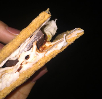 Salzsieder makes a s'mores alternative with gelatin-free marshmallows, dark chocolate, and cinnamon crackers. Credit: Morgan Salzsieder