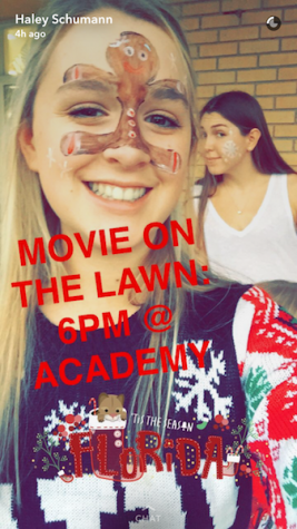 Photo Credit: Haley Schumann (used with permission) The senior class worked hard to promote movie on the lawn in order to raise money for the senior class endowment.