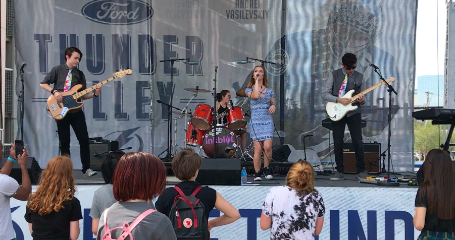 Inkblot got to perform at the Lightning game pre-show outside of Amalie Arena.  photo credit: Darcy Dwyer (used with permission)