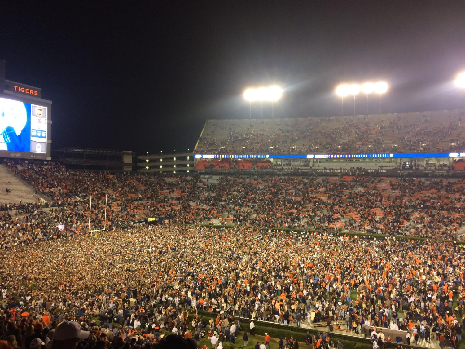This is Auburn's third offense against the SEC rule prohibiting rushing the field after a victory.