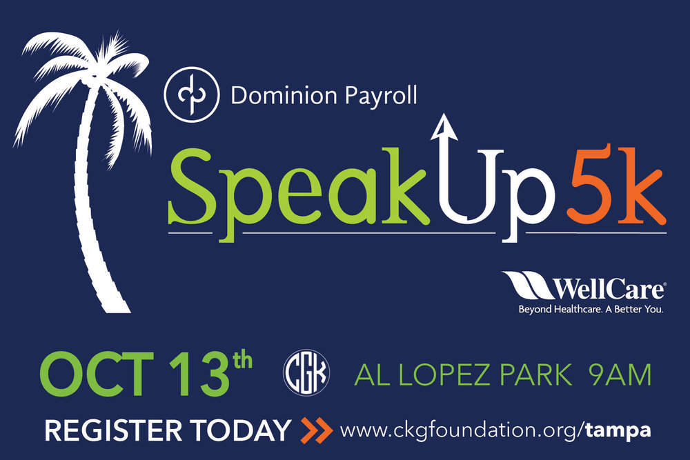 All of the profits from the 3rd SpeakUp5k will go towards the Crisis Center of Tampa Bay and the Cameron K. Gallagher Foundation.